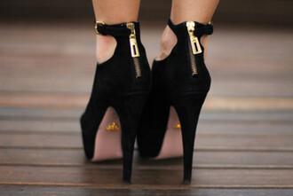 shoes heels black zip gold fashion style stilettos