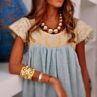 blouse shirt t-shirt grey gold jewels light blue embroidered dress blue yellow white cute necklace bangle vintage retro baby doll lace gold lace babydoll blue linen gold accents yellow dress blue dress blue and yellow dress babydoll dress