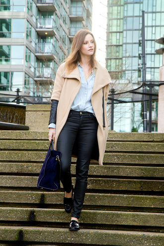 styling my life blogger bag leather pants black pants coat shirt jeans shoes jewels