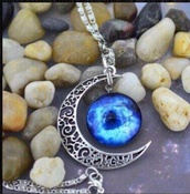 jewels,moon,crescent moon,crescent,silver,necklace,beautiful,galaxy print,blue,light blue,jewelry,chain,stone