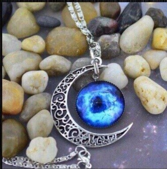 jewels moon crescent moon crescent silver necklace beautiful galaxy print blue light blue jewelry chain stone