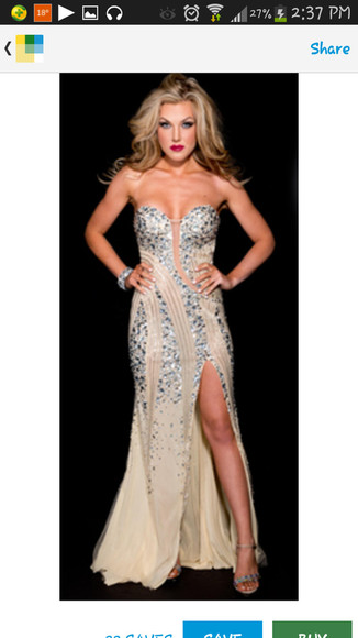 dress prom dress long prom dresses sparkly beige split leg diamonds sexy champagne