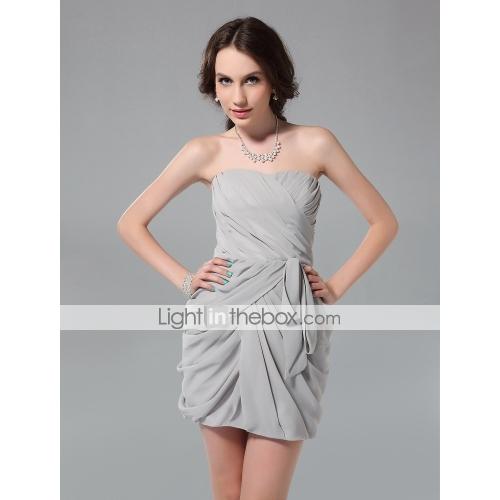 Sheath/ column strapless short/ mini chiffon cocktail dress