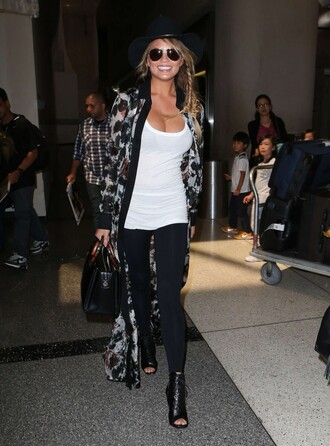 cardigan top chrissy teigen booties leggings
