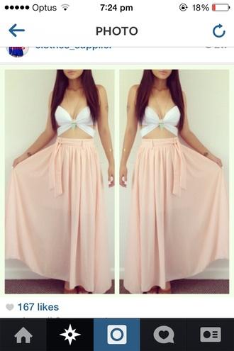 tie up shirt pink skirt maxi skirt belt
