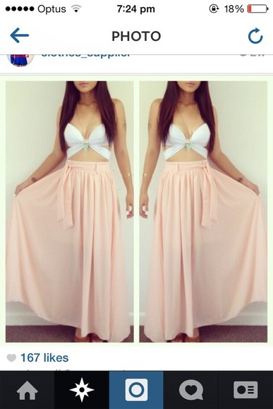 tie up shirt pink skirt long skirt belt