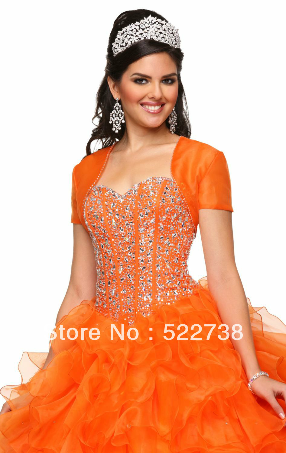 16 crystal cheap orange quinceanera dresses 2014 long dress 15 ...