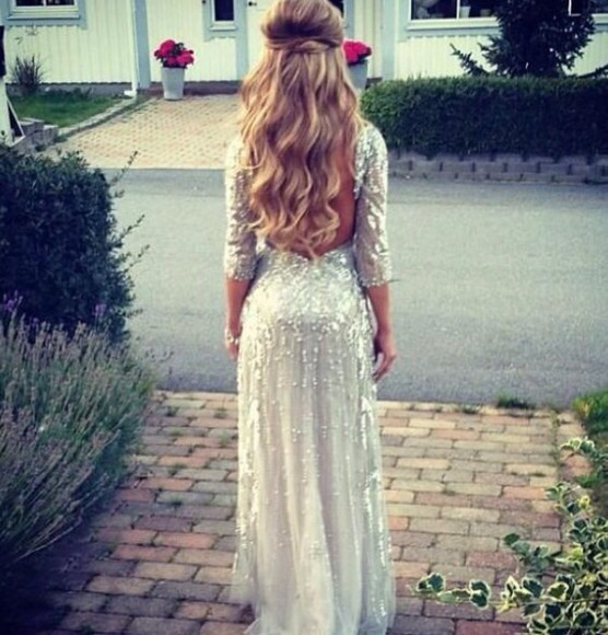long sleeve dress silver sequin dress white dress long prom dresses