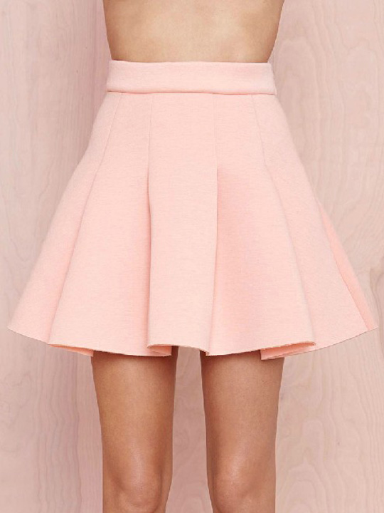 Cute pink pleated skater skirts with hidden side zip