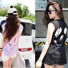 Vintage Women Girls Sleeveless Cut Out Skull Empty Hole Tops T-Shirts Blouses | eBay