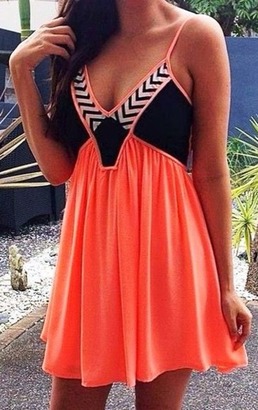 dress orange dress mini dress zig zag summer dress little black dress cute dress striped dress