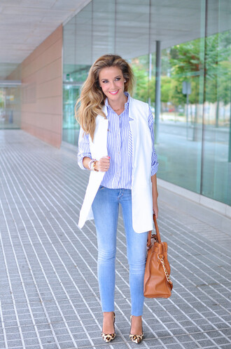 te cuento mis trucos blogger striped shirt sleeveless leopard print high heels