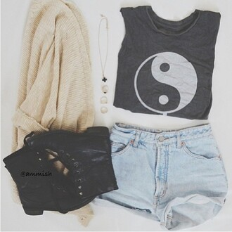 shirt clothes peace black hippie hipster boho bohemian indie tank top gypsy sweater cardigan pullover combat boots black combat boots yin yang high waisted shorts black t-shirt white knit sweater knitted cardigan shorts coat