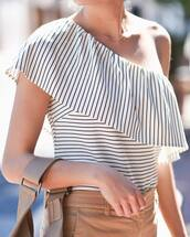 top,tumblr,stripes,striped top,one shoulder,necklace,gold necklace,jewels,jewelry