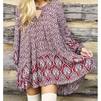 dress amazing lace tunic print comfy fall essential blogger style fashion blogger love happy cute trendy style pretty fashion long sleeves essential boot socks boots boho bohemian