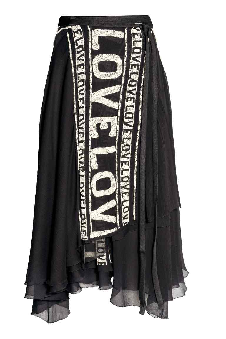 Wrapover beaded skirt - Black - | H&M GB