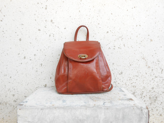 Vintage Chestnut Brown Leather Backpack // Leather by VindicoShop