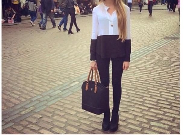blouse colourblock bag