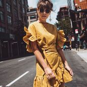 dress,summer,summer dress,summer outfits,summer beauty,fashion,wrap dress,ruffle,white ruffles,ruffle dress,short sleevve,sleeveless,yellow,yellow dress