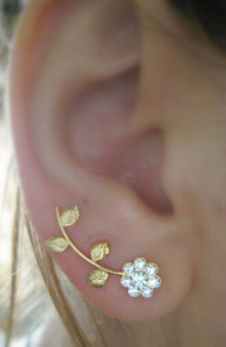 jewels jewelry floral earrings ear cuff earclimber ear sweeps swarovsky