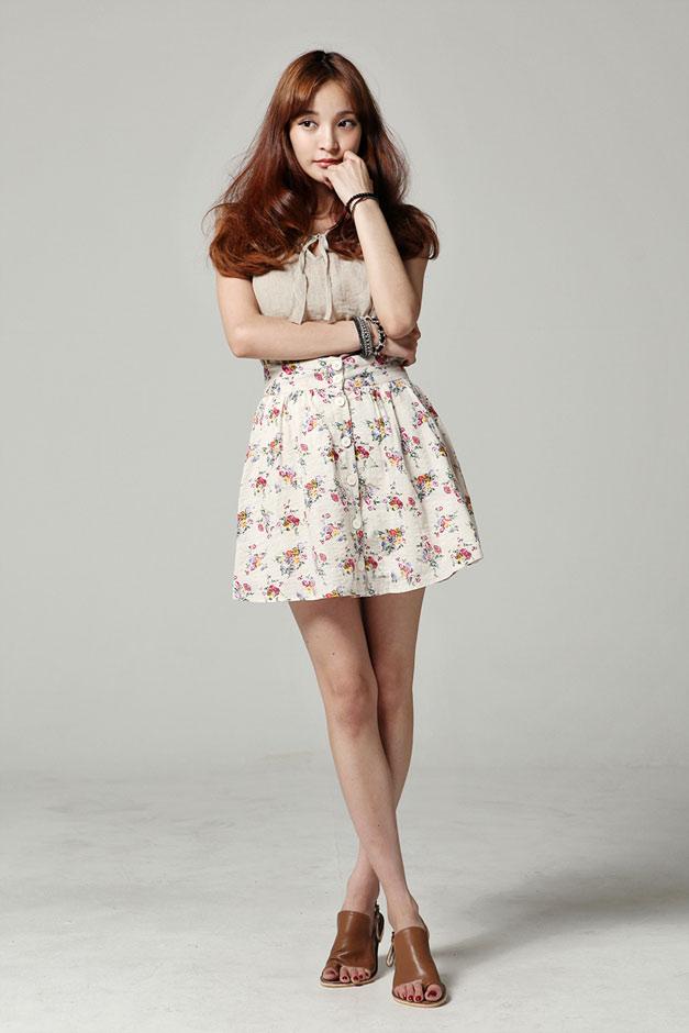Center Button Flower Skirt