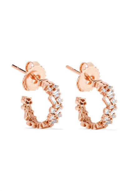 Suzanne Kalan - 18-karat Rose Gold Diamond Earrings