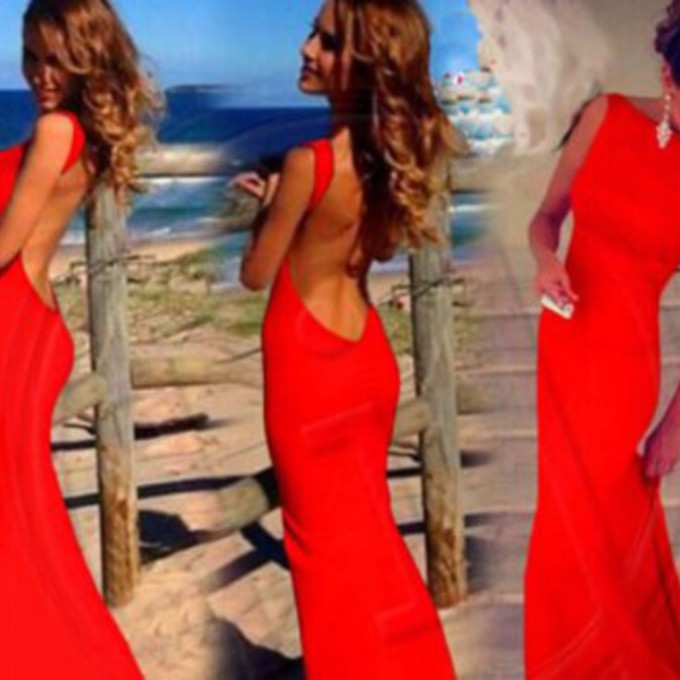 Red Open Back Maxi Dress Open Back Prom Dress Red