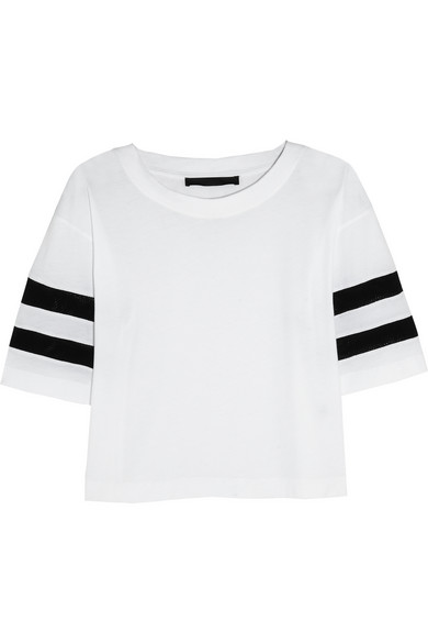 Karl Lagerfeld | Jessica mesh-striped cotton-jersey T-shirt | NET-A-PORTER.COM