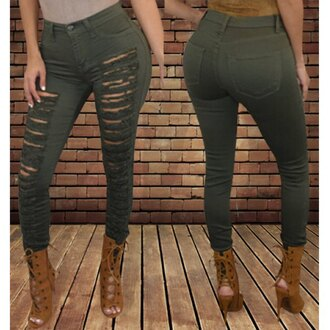 jeans ripped jeans rose wholesale army green sexy skinny lace up boots chic casual skinny jeans high waisted lace up heels heels skinny pants style fashion shoes high heels hipster hippie brown brown high heels love cute beautiful tie green pants cute jeans tumblr tumblr outfit tumblr girl tumblr shoes