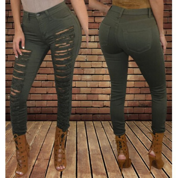 59d8bd5be850 jeans ripped jeans rose wholesale army green sexy skinny lace up boots chic  casual skinny jeans