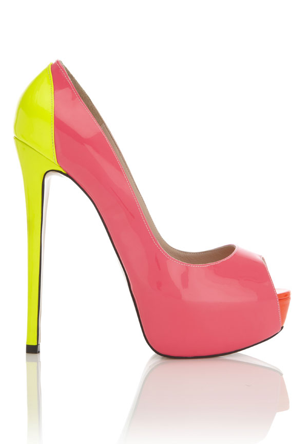 Miami' Multi toned Yellow, Pink and Red Patent Leather Peep-Toe ...