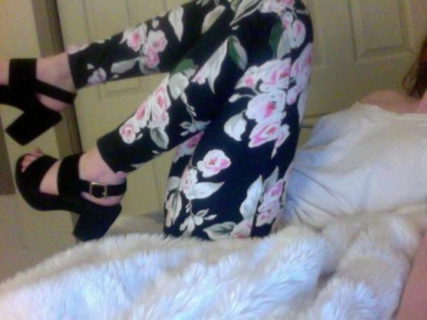 pants, leggings, black, floral, flowers, girl, girly, rosy, shoes ...