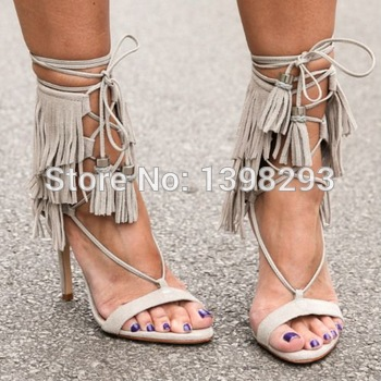 a67f0985e2b New sexy gray color suede fringe lace up high heel sandals cut out dress tassel  pumps ...