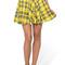 Yellow plaid print elastic waist pleated skirt