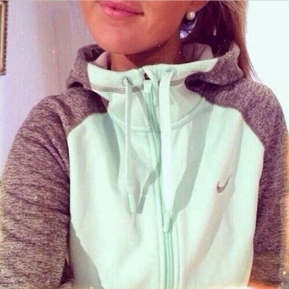 mint nike jacket hoodie grey sport zip up nike mint green and gray zip up