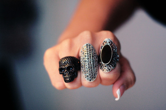 jewels black jewels diamonds skull silver ring oval ring