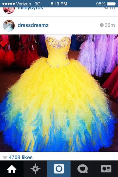 ball gown prom dress long yellow