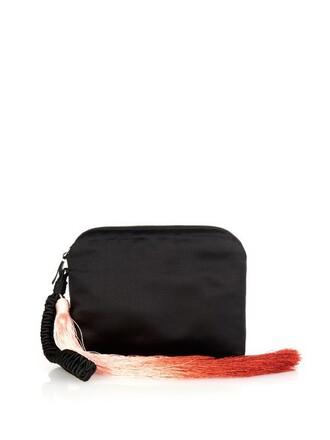 tassel clutch satin black bag