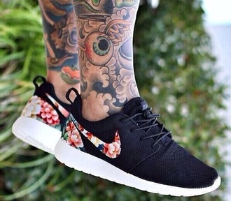 shoes black nike roshe run style floral flowers