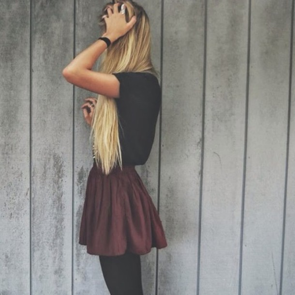 Skirt Burgundy Short High Waisted Fashion Red Dark Red Girly Vintage Rock Goth Hipster