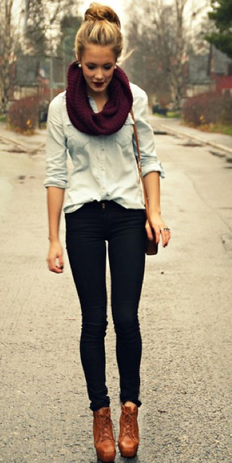 brown leather platform shoes scarf shirt make-up blouse denim jeans shoes jade butter field look maroon/burgundy pintrest tumblr outfit comfy outfits tumblr sweater fall scarves