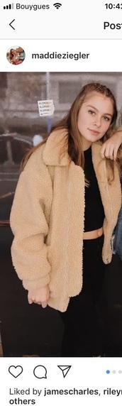 coat,fur,nude jacket,beige jacket,Maddie ziegler,fur jacket