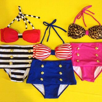 swimwear swimwear printed swim bathing suit summer dress summer summer outfits polka dots high waisted bikini striped bikini stripes leopard print cute