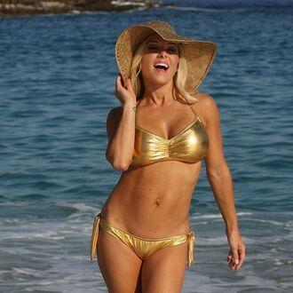 swimwear metallic swimsuit metallic bikini metallic bikini bikini top bikini bottoms gold hat sun hat