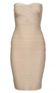CELEB BEIGE STRAPLESS BODYCON BANDAGE DRESS | ZANDAGE