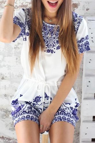 dress romper white blue