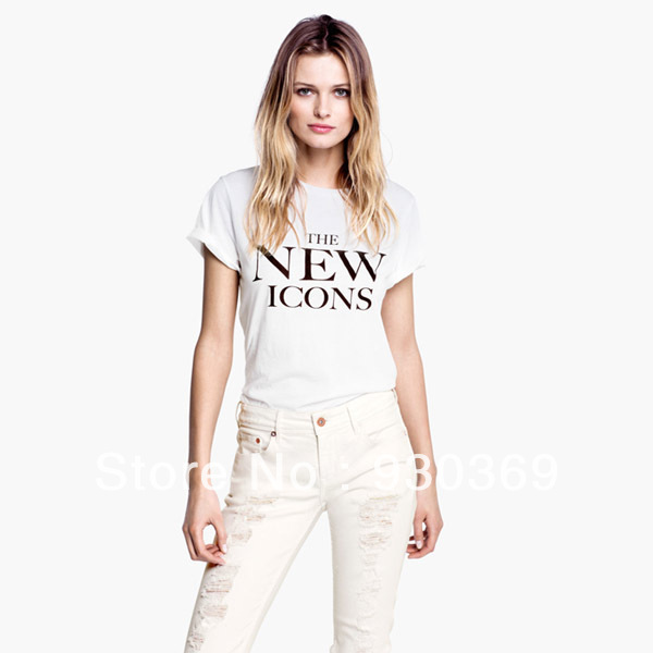 Womens o neck cotton t shirt with THE NEW ICONS printed for wholesale and freeshipping-in T-Shirts from Apparel & Accessories on Aliexpress.com | Alibaba Group