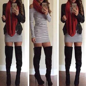 shoes boots thigh high boots bodycon dress scarf
