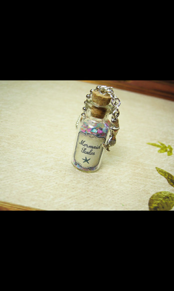 necklace jewels mermaids mermaids scales bottle bottle necklace