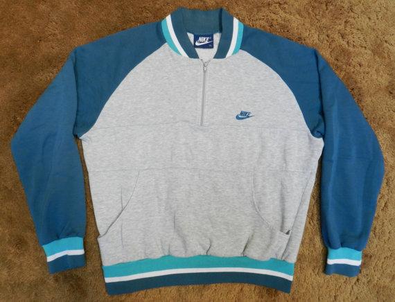 Vintage nike blue tag sweatshirt 1980s 80s med large pullover warm up half zip jacket hipster